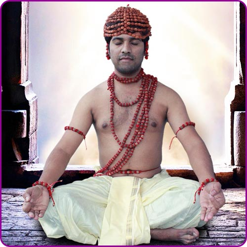 Meditation with Rudraksha and other Holy Items