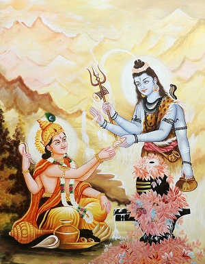 Lord Vishnu meditating on Lord Shiva