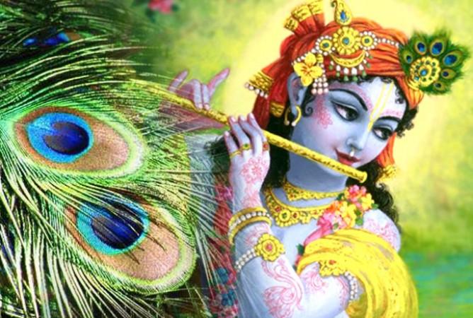 peacock feathers on Lord Krishna's head
