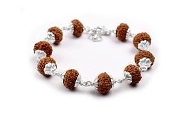 9 mukhi Durga Shakti bracelet from Java with silver caps