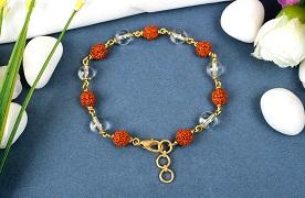 Rudraksha and Crystal bracelet in gold polish wire - 8 mm