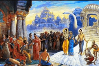Lord Rama returns to Ayodhya with Sita, Lakshman and Hanuman