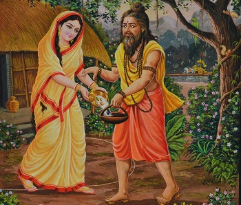 Ravana disguised as a mendicant comes and asks for alms from Lord Ram's Wife Sita