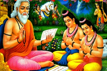 Love and Kush grow up under Valmiki who recites the glory of Rama and Sita