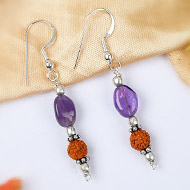 Amethyst and Rudraksha Earring