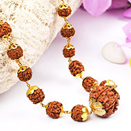 Rudraksha Mala in gold with caps - 6 to 9mm