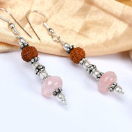 Rudraksha and Rose Quartz Earring