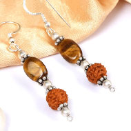 Tiger Eye and Rudraksha Earring - IV