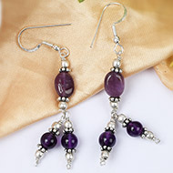 Triple bead Amethyst Earring
