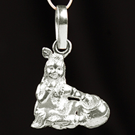 Radha Krishna Locket - in Pure Silver - Design IV
