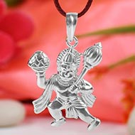 Hanuman locket in pure silver - II