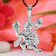 Hanuman locket in pure silver - II