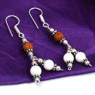 Rudraksha Mother of Pearl Earrings