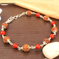 6 mukhi with Coral bracelet in silver caps