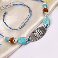 5 Mukhi Rakhi Turquoise Beads with pure silver and metal accessories