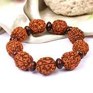 5 mukhi Guru bracelet with red Sandalwood beads - 15 mm