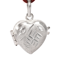 Heart Locket in pure silver - Swastik Design