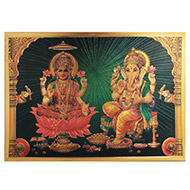Lakshmi Ganesh Photo in Golden Sheet - Large