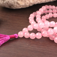 Pink Agate Faceted mala - 8mm