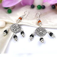 Rudraksha Black Agate Earrings - I