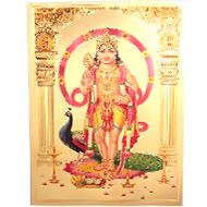 Lord Murugan Photo in Golden Sheet - Large