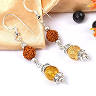 Citrine and Rudraksha Earring