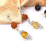 Citrine and Rudraksha Earring