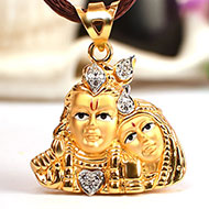 Radha Krishna Locket in pure Gold - 3.08 gms