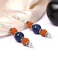 Rudraksha and Lapis Lazuli Earring - II