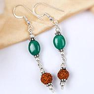 Green Agate and Rudraksha Earring