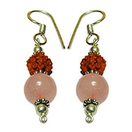 Rudraksha Rose Quartz Earrings