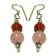 Rudraksha Rose Quartz Earrings