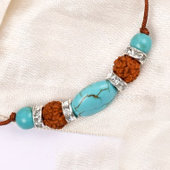 4 Mukhi Rakhi Turquoise Beads with German silver accessories