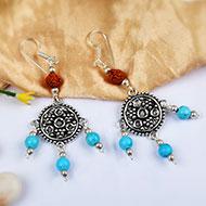 Rudraksha and Turquoise Earring - II