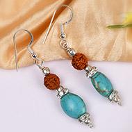Rudraksha and Turquoise earring
