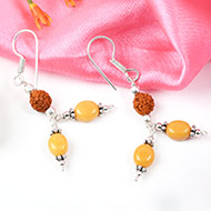 Yellow Sapphire and Rudraksha earring-Design III
