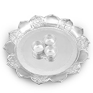 Haldi Kumkum Container with thali in pure silver