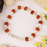 Rudraksha punchmukhi Bracelet in conical silv..