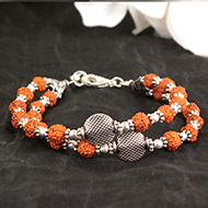 Rudraksha Bracelet with Two Turns in Strong T..