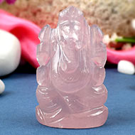 Rose Quartz Ganesh-Right trunk-114 gms