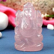 Rose Quartz Ganesh-Right trunk-114 gms