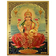 Goddess Mahalakshmi Photo in Golden Sheet - Large