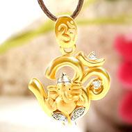 Om Ganesh pendant in gold