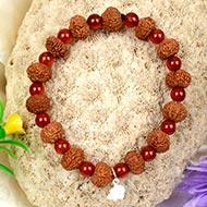 10 mukhi Krishna bracelet from Java with Carnelian beads