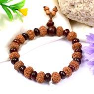 10 mukhi Krishna bracelet from Java with Red Sandalwood beads