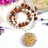 10 Mukhi Rudraksha and Moonstone Mala