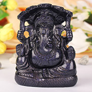 Ganesha statue in Blue Stone - 565 gms
