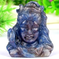 Shiva Mukha Murti In Blue Sapphire