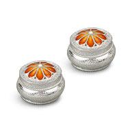 Silver Haldi Kumkum Container - Flower Design - Set of 2