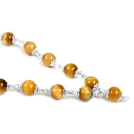 Brown Cats Eye round mala - 8mm in silver capping